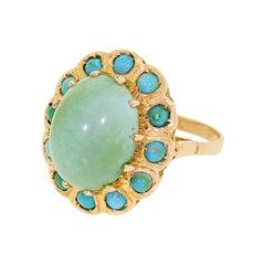 10 Karat Rose Gold Cocktail Ring Green Blue Persian Turquoise Halo