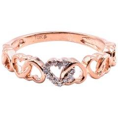 10 Karat Rose Gold Heart Band with Diamonds