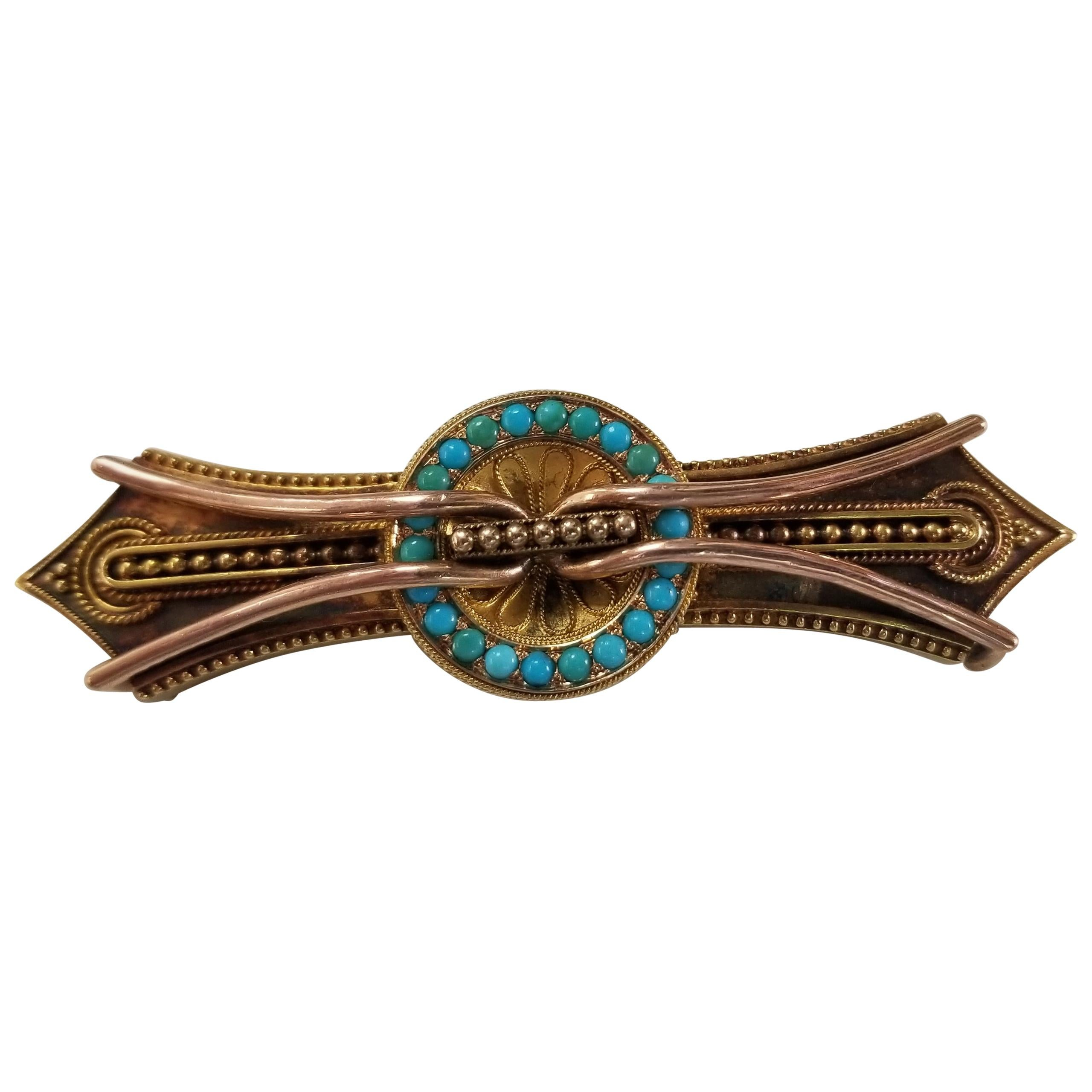 10 Karat Turquoise Vintage Byzantine Style Brooch