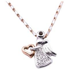 10 Karat Two-Tone Diamond Angel Necklace