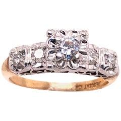 10 Karat Two-Tone Gold Diamond Engagement Ring 0.60 TDW