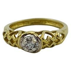 10 Karat Two-Tone Small Diamond Engagement Ring Charm Pendant