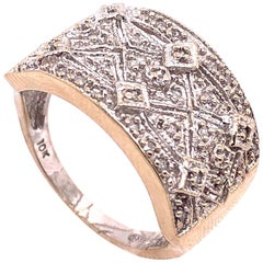 10 Karat Two-Tone Yellow and White Gold with Diamond Accents Fashion Ring Band