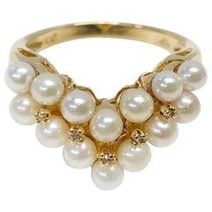 10 Karat White Cultured Pearl Diamond Ring