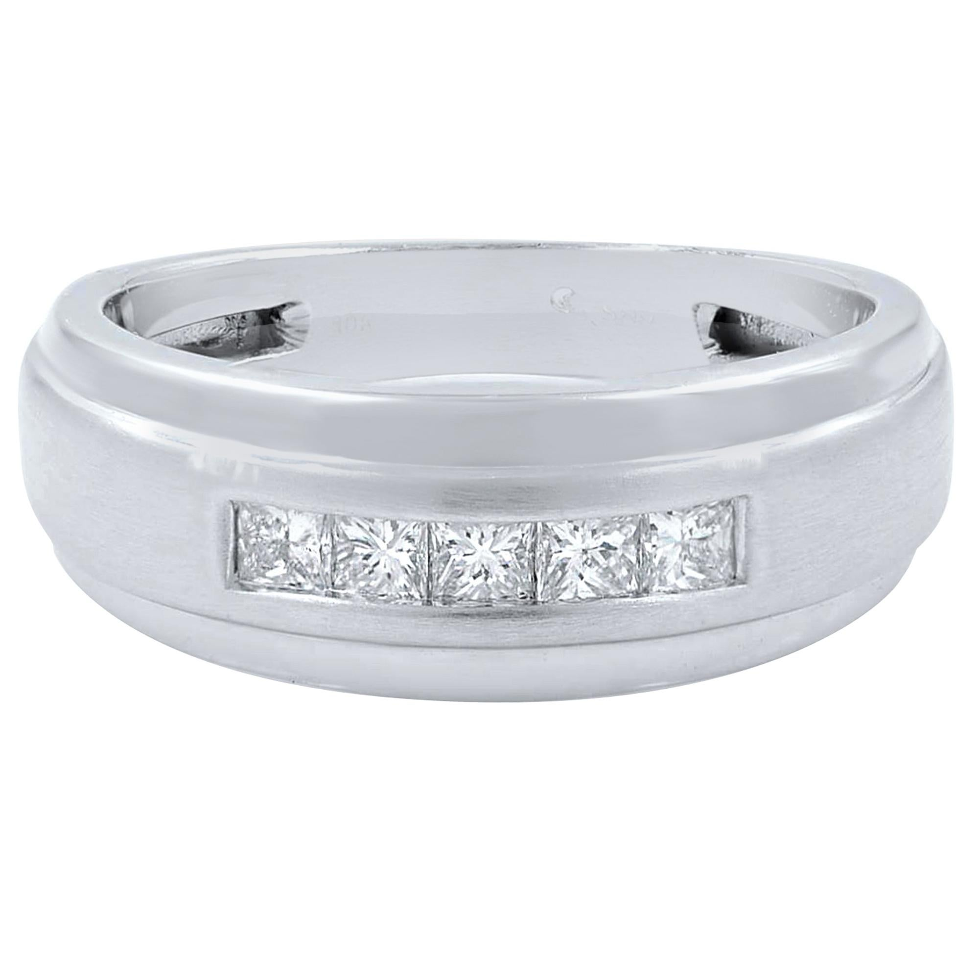 10 Karat White Gold 0.40 Carat Princess Cut Diamond Wedding Band Ring for Men's
