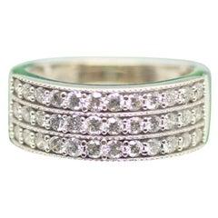 10 Karat White Gold 3-Row Diamond Ring