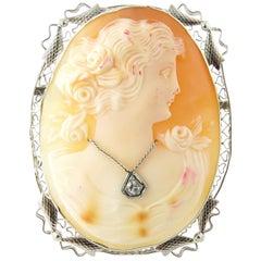 10 Karat White Gold and Diamond Cameo Pendant or Brooch