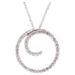 10 Karat White Gold and Diamond Circle Swirl Pendant Necklace