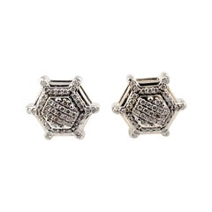 10 Karat White Gold and Diamond Earrings