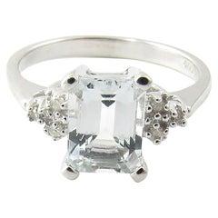 10 Karat White Gold Aquamarine and Diamond Ring