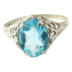 10 Karat White Gold Blue Topaz Ring