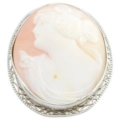 10 Karat White Gold Cameo Brooch / Pin