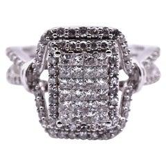 10 Karat White Gold Diamond Cluster Ring