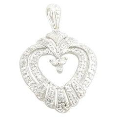10 Karat White Gold Diamond Heart Pendant