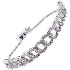 10 Karat White Gold Diamond Link Bracelet