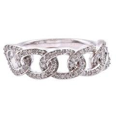 10 Karat White Gold Diamond Link Fashion Ring