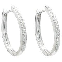 10 Karat White Gold Diamond Oval Hoop Earrings