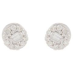 10 Karat White Gold Diamond Round Stud Earrings
