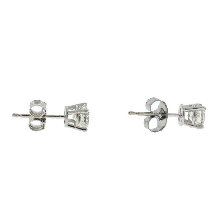 Women's or Men's 10 Karat White Gold Diamond Stud Earrings .75 Carat For Sale