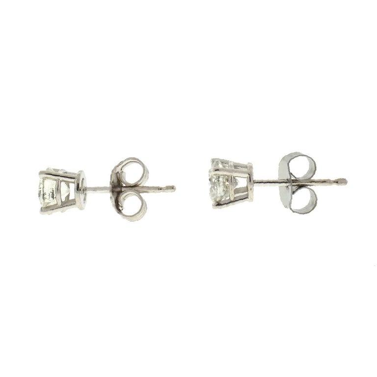 10 Karat White Gold Diamond Stud Earrings .75 Carat For Sale 1