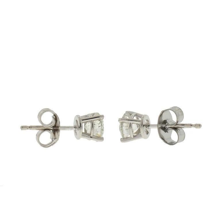 10 Karat White Gold Diamond Stud Earrings .75 Carat For Sale 2