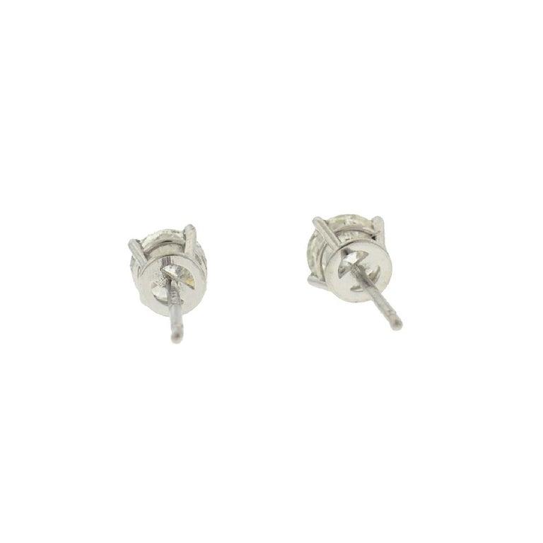 10 Karat White Gold Diamond Stud Earrings .75 Carat For Sale 3