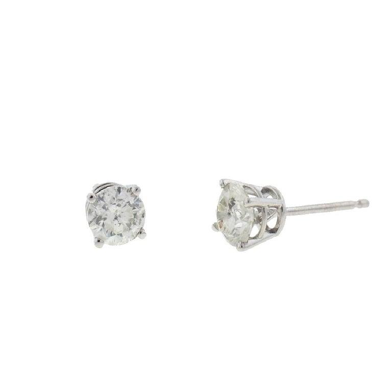 10 Karat White Gold Diamond Stud Earrings .75 Carat For Sale 4