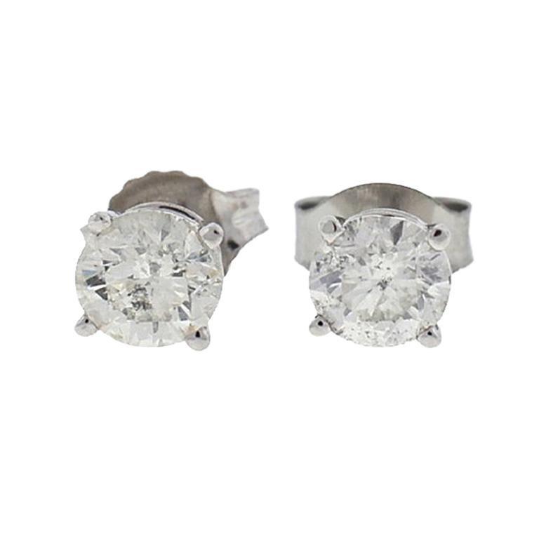 10 Karat White Gold Diamond Stud Earrings .75 Carat For Sale