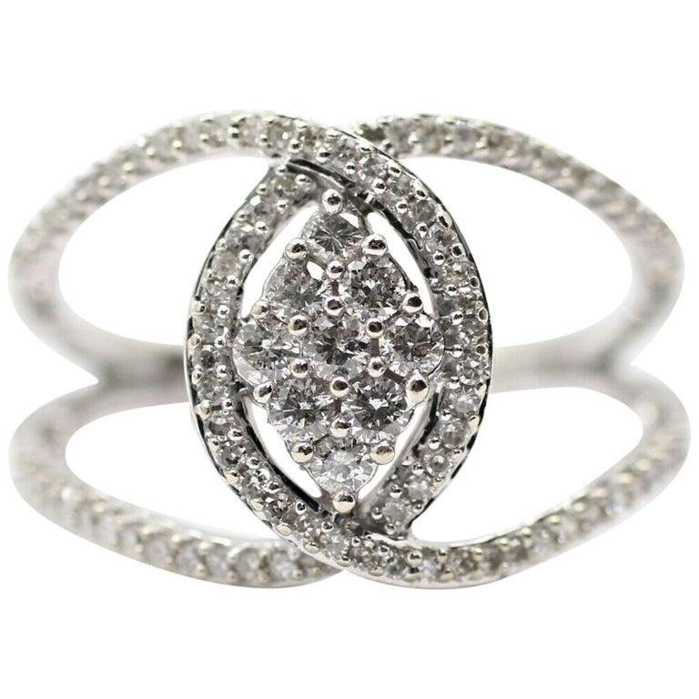 10 Karat White Gold Diamond Twist Ring For Sale