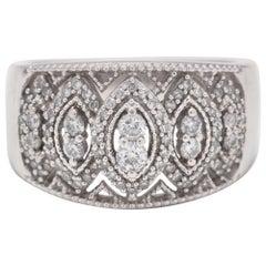 10 Karat White Gold Diamond Wide Marquise Band Ring