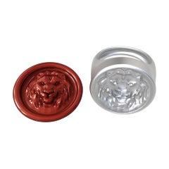 10 Karat White Gold Leo the Lion Signet Wax Seal Ring