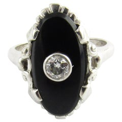 10 Karat White Gold Onyx and Diamond Ring