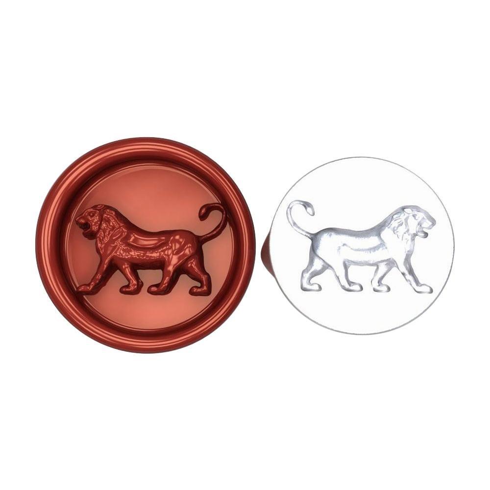 10 Karat White Gold Persepolis Walking Lion Signet Wax Seal Ring