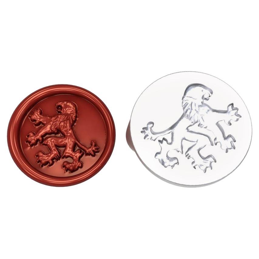 10 Karat White Gold Rampant Lion Signet Wax Seal Ring