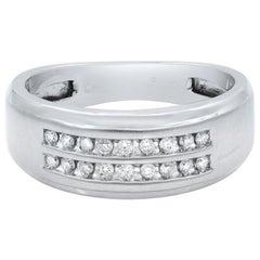 10 Karat White Gold Round Cut Diamond Wedding Band Ring for Men 0.36 Carat