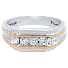 10 Karat White Gold Round Cut Diamond Wedding Band Ring for Men 0.50 Carat