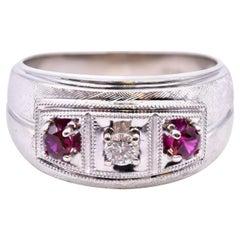 10 Karat White Gold Ruby and Diamond Ring