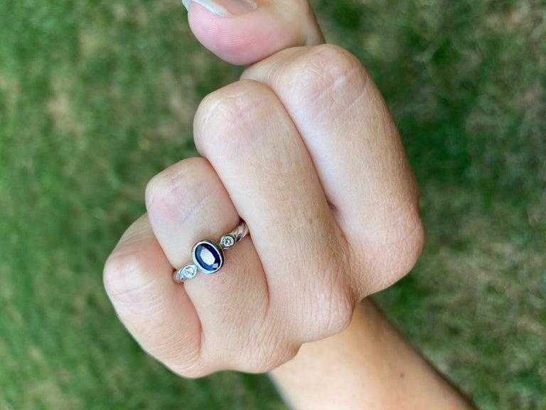 10 Karat White Gold Sapphire and Diamond Ring For Sale 1