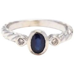 10 Karat White Gold Sapphire and Diamond Ring