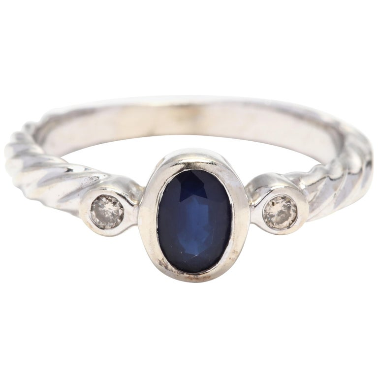 10 Karat White Gold Sapphire and Diamond Ring For Sale