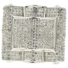 10 Karat White Gold Square Pave Diamond Men's Ring
