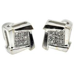 10 Karat White Gold Square Stud Earrings