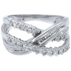10 Karat White Gold Wide Diamond Crossover Ladies Ring 0.60 Carat