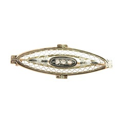 10 Karat Yellow and White Gold Filigree and Diamond Brooch / Pin