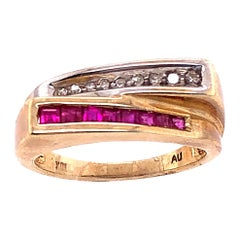 10 Karat Yellow and White Gold Ruby and Diamond Two-Tier Ring