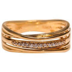 10 Karat Yellow Gold 0.2 Carat Diamond Wedding Anniversary Band Ring