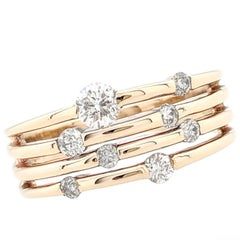 10 Karat Yellow Gold .40 Carat Tension Set Diamond Right Hand Ring