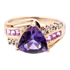 10 Karat Yellow Gold Amethyst and Diamond Ring