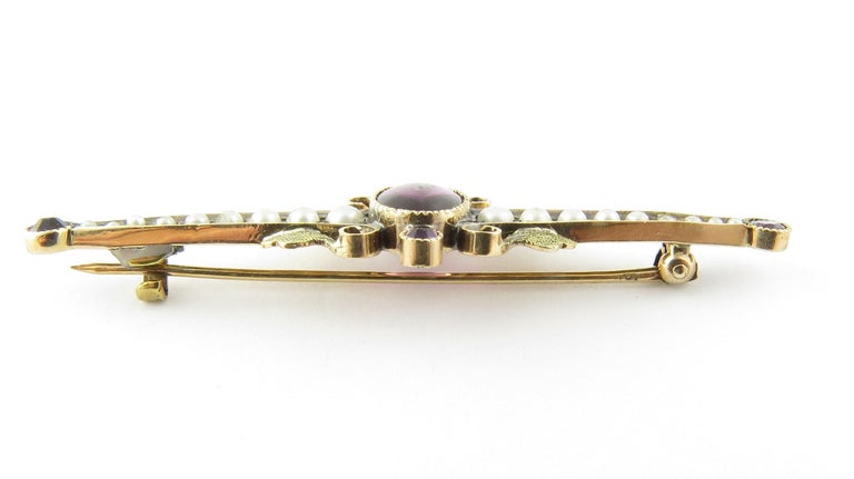 Round Cut 10 Karat Yellow Gold Amethyst and Pearl Pin or Brooch For Sale