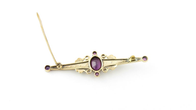 10 Karat Yellow Gold Amethyst and Pearl Pin or Brooch For Sale 1